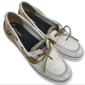 Sperry shoes top sider Boat white tan lace up